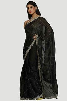 Picture of Blooming Black Colored Organza Saree