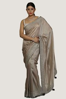 Picture of Marvellous Mauve Colored Partywear Embroidered Saree