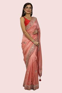 Picture of Groovy Pink Colored Party Wear Embroidered Saree