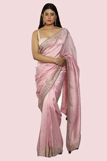 Picture of Gorgeous Pink Colored Embroidered Dolla Silk Saree