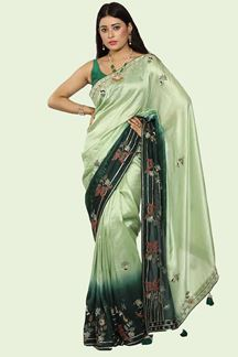 Picture of Glorious Green Shaded Colored Party Wear Fancy Silk Saree