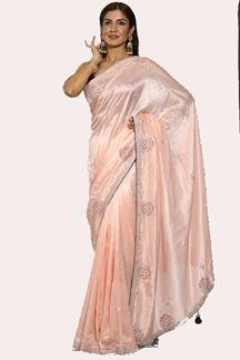 Picture of Energetic Peach Colored Embroidered Dolla Silk Saree