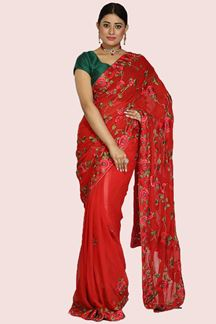 Picture of Attractive Red Colored Georgette Saree