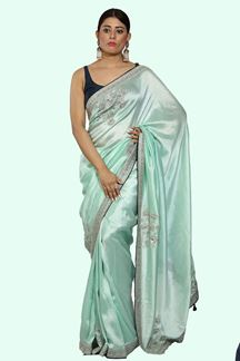 Picture of Gorgeous Sea Green Colored Dolla Silk Saree