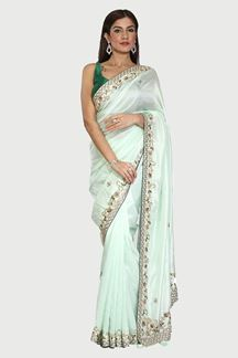 Picture of Eye-catching Sea Green Colored Dolla Silk Saree