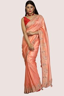 Picture of Trendy Peach Colored Partywear Dolla silk  Saree
