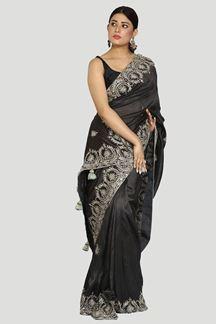 Picture of Designer Dark Grey Color Dolla Silk Saree