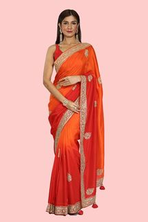 Picture of Exceptional Red & Orange Shaded Colored Partywear Dolla Silk Saree