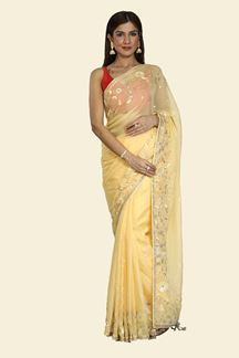 Picture of Arresting Yellow Colored Tissue Silk Saree