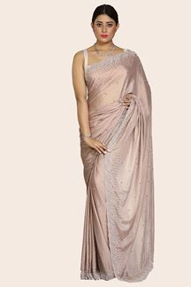 Picture of Mesmerizing Mauve Colored Partywear Shimmer Georgette Saree