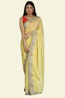 Picture of Magnetic lemon Yellow Colored Crepe Saree