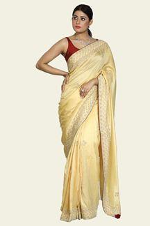 Picture of Preferable Lemon Yellow Colored Dolla Silk Saree