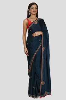 Picture of Elegant Navy Blue Colored Crepe Silk Saree