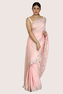Picture of Amazing Pink Colored Party Wear Embroidered Crepe Saree