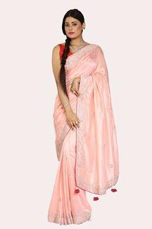 Picture of Attractive Peach Colored Dolla Silk Saree