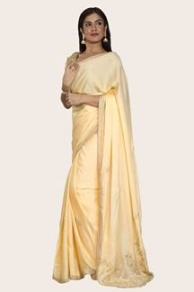Picture of Elegant Yellow Colored Party Wear Embroidered Crepe Saree