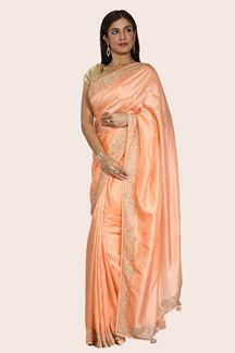Picture of Alluring Peach Colored Party Wear Dolla Silk Saree