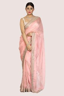 Picture of Flattering Pink Colored Partywear Tissue Saree