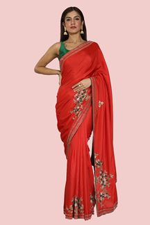 Picture of Gleaming Red Colored Embroidered Dolla Silk Saree