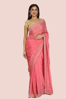 Picture of Fantastic Pink Colored Partywear Embroidered Crepe Silk Saree