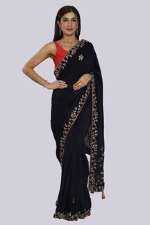 Picture of Charming Navy Blue Colored Partywear Dolla Silk  Saree