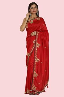 Picture of Magnetic Red Colored Partywear Dolla Silk Saree