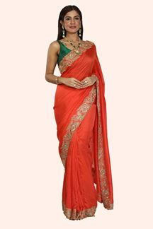 Picture of Hypnotic Orange Colored Partywear Fancy  Silk Saree