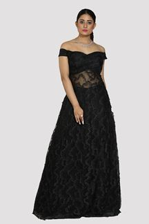 Picture of Trendy Black Colored Designer Net Gown