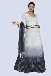 Picture of Elegant Sky Blue Colored Party Wear Lucknowi Georgette Gown