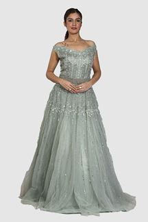Picture of Sea Green Color Floor Length Net Gown