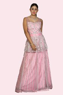 Picture of Pepelum Style Pink Color Net Gown