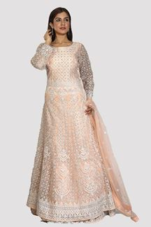 Picture of Delightful Peach Colored Partywear Embroidered Net Gown