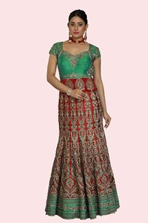 Picture of Breathtaking Green-Red Colored Bridal Embroidered Gown