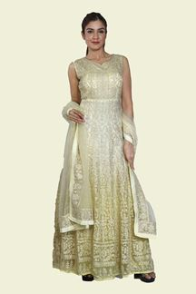 Picture of Glowing Yellow Colored Partywear Embroidered Net Gown