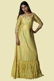 Picture of Delightful Yellow Colored Cotton Silk Gown