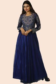 Picture of Blue Colored Partywear Embroidered Net Gown