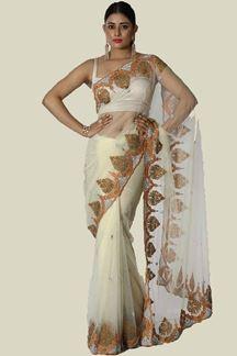 Picture of Designer Cream Color Net Saree