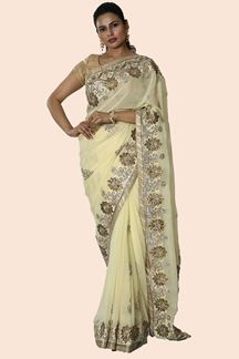 Picture of Intricate Lemon Yellow Colored Partywear Georgette  Saree