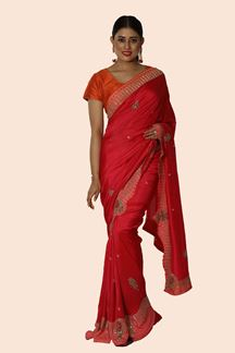 Picture of Gleaming Red & Peach Colored Party Wear Dolla Silk Saree