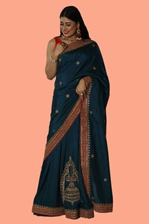 Picture of Adorable Peacock Blue Colored Embroidered Saree