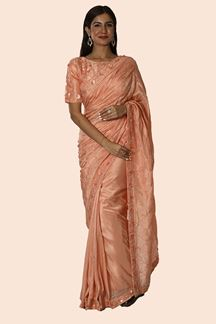 Picture of Peach Designer Sari With Blouse