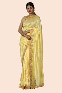 Picture of Designer Lemon Yellow Dolla Silk Base Designer Saree