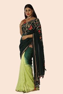 Picture of Desirable Shaded Green Colored Partywear Embroidered Saree