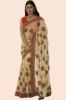 Picture of Marvelous Beige Colored Embroidered Georgette Saree