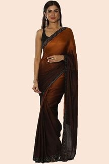 Picture of Magnetic Coffee Colored Partywear Satin Saree