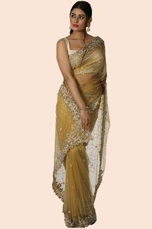 Picture of Mustard Color Soft Net Embroidered Saree
