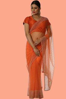 Picture of Thrilling Orange Colored Ceremonial Wear Designer Saree