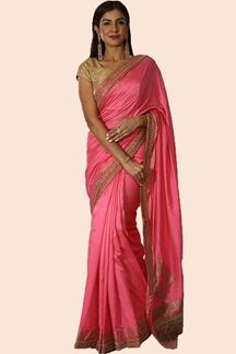 Picture of Marvellous Pink Colored Banarasi Silk Saree