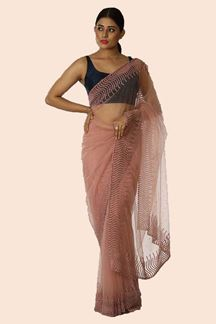 Picture of Thrilling Light lavender Colored Designer Net Saree