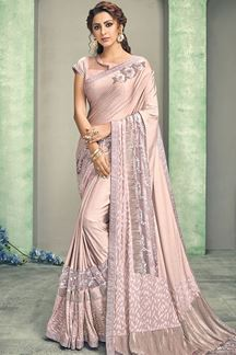 Picture of Vintage Rose Pink Colored Lycra Designer Saree